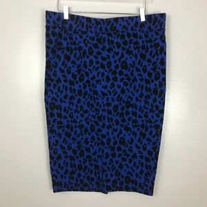 Torrid Blue Plus Size Cheetah Pencil Skirt 2X